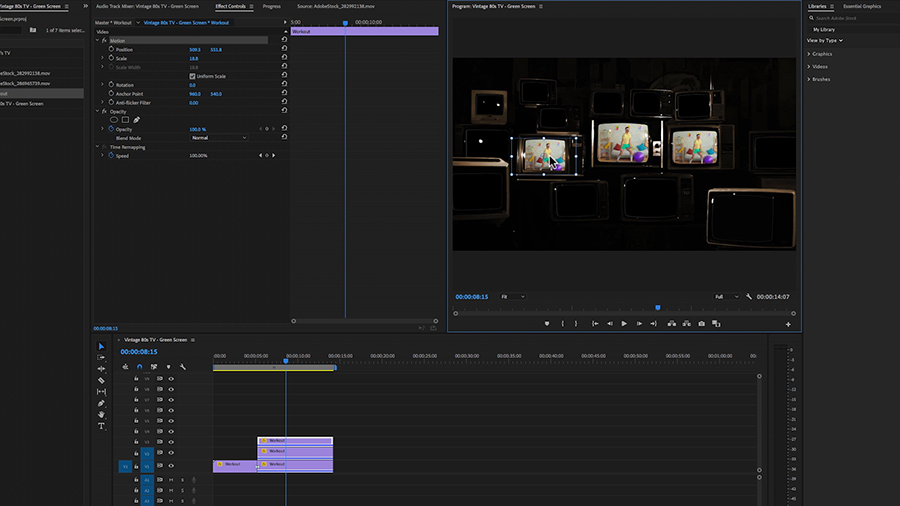 In an Adobe Premiere Pro desktop screenshot, the editor is placing one of three duplicate shots of a hipster doing arm curls with leightweight dumbells onto a vintage television in the Program panel while the timeline shows the clip dupilicated three times on tracks V1 to V3