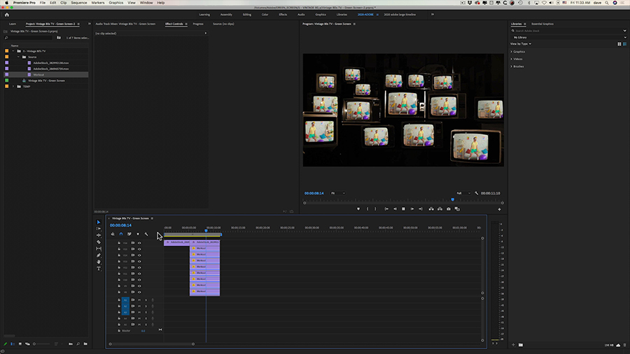 In an Adobe Premiere Pro desktop screenshot, a composited image of fifteen duplicate shots of a hipster doing arm curls with leightweight dumbells onto vintage television sets in the Program panel while the timeline shows the duplicate clps stacked on video tracks