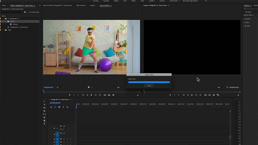 In an Adobe Premiere Pro desktop screenshot, the Source Monitor shows a hipster doing arm curls with leightweight dumbells in a bedroom next to a purple exercise ball, while the Import Files progress bar fills up in the foreground