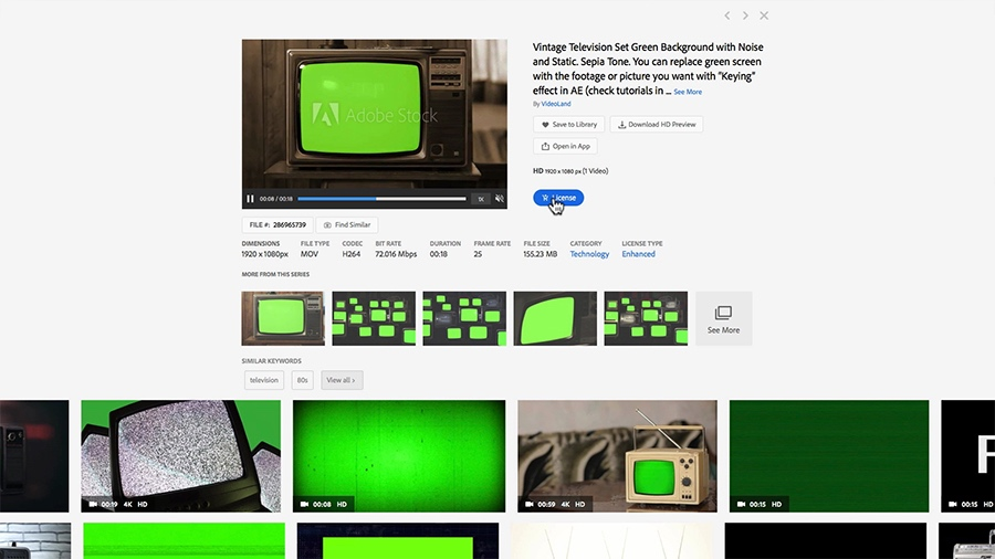 "A screen shot of the Adobe Stock search results page shows the user is hovering the mouse over the button to license a clip titled ""Vintage Television Set Green Screen Background With Noise And Static"""