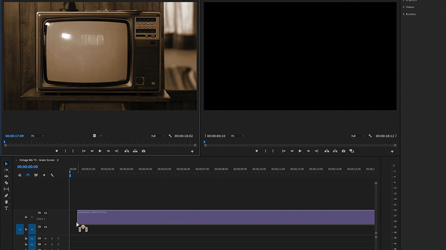 In an Adobe Premiere Pro desktop screenshot, the editor is dragging and dropping a video clip onto track V2 while a shot of a vintage television is in the Source Monitor