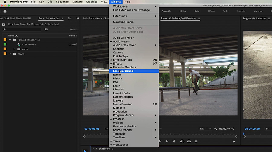 In an Adobe Premiere Pro desktop screenshot, the editor is selecting Window > Workspace > Audio with an image of a young man skateboarding in the Program Monitor in the background
