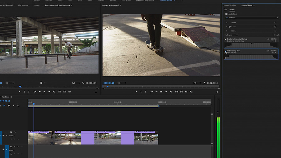 In an Adobe Premiere Pro desktop screenshot, the editor clicks the play button on a music track in the Essential Sound panel while the skateboarding video edit appears on the left side of the frame in the editing interface