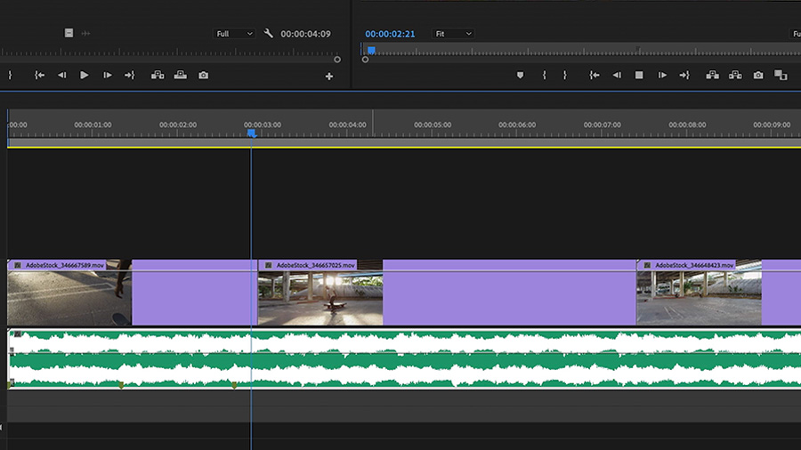 In an Adobe Premiere Pro desktop screenshot, the editor is adding markers to the Adobe Stock audio music track on the downbeat