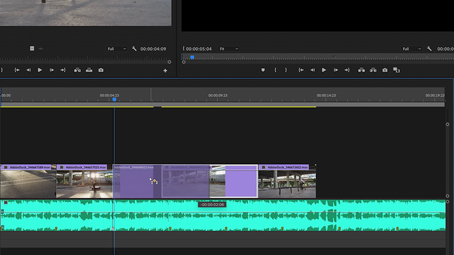 In an Adobe Premiere Pro desktop screenshot, the editor is cutting the video track to match the pacing of the markers they placed on the Adobe Stock audio track on the timeline
