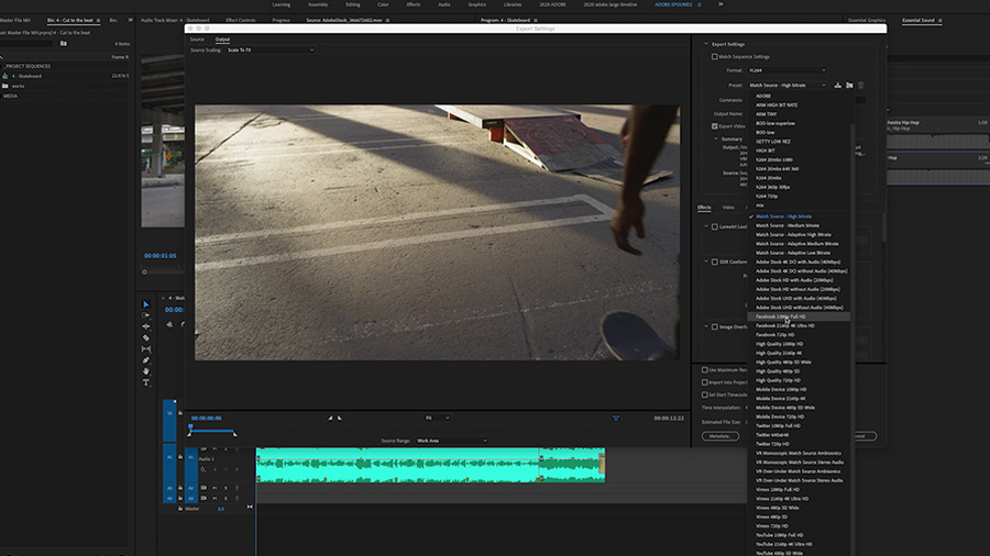 In an Adobe Premiere Pro desktop screenshot, the editor is working in the Export Media window and has selected the 1080p HD Facebook preset for export