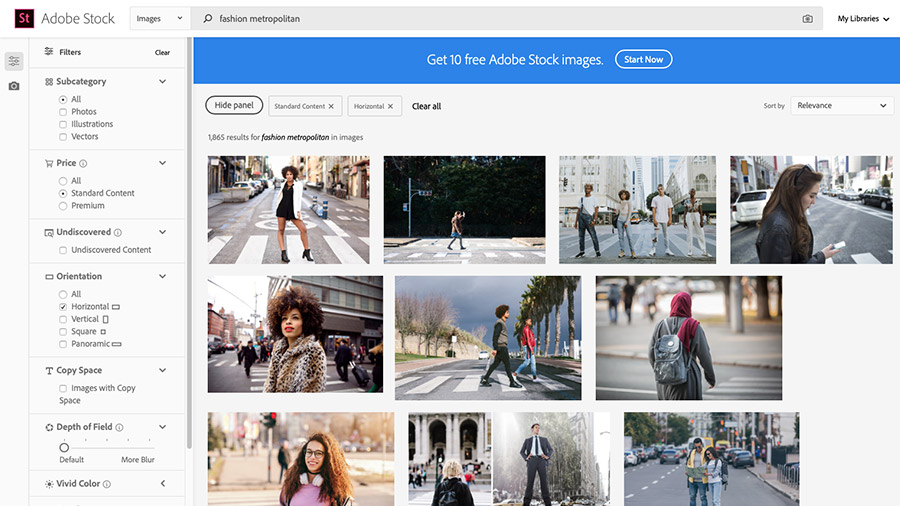 Adobe Stock website shown in browser with 'fashion metropolitan' shown in search field