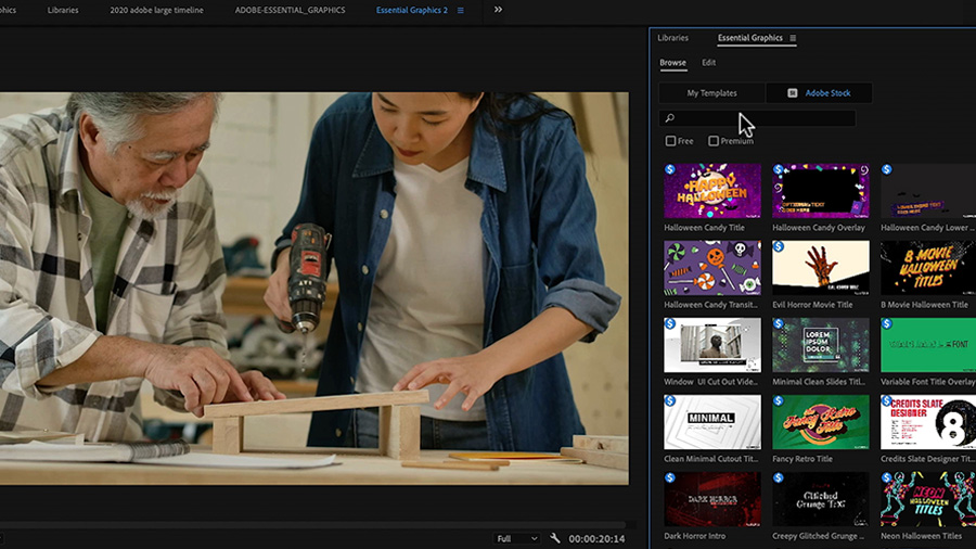 In an Adobe Premiere Pro desktop screenshot, the editor uses the Essential Graphics panel to search for Motion Graphics templates, while in the Program Monitor to the left, an Asian woman holds a power drill above a piece of wood while an older Asian man looks on and points to the spot where she should drill