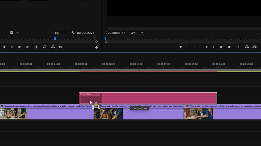In an Adobe Premiere Pro desktop screenshot, the editor is dragging and dropping a Motion Graphics template on the timeline in track V2 between above the edited video on track V1
