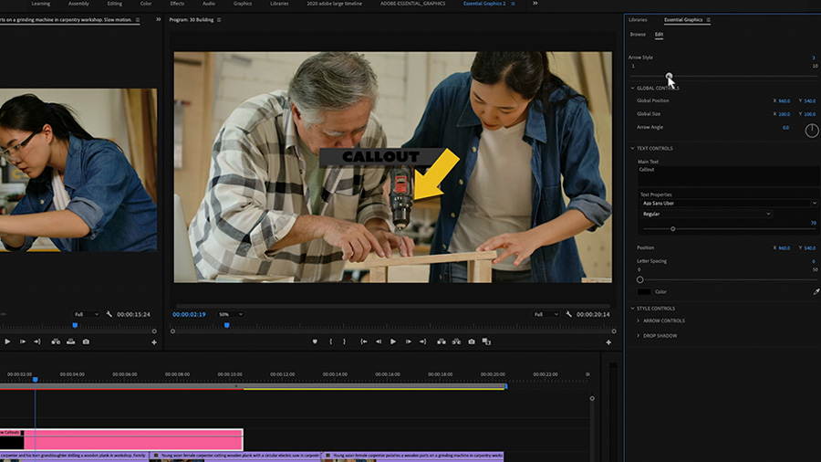 In an Adobe Premiere Pro desktop screenshot focused on both the Program Mo, which shows a young Asian woman and an older Asian man woodworking, and the Essential Graphics panel, the editor makes adjustments to the Motion Graphics template that is in the timeline