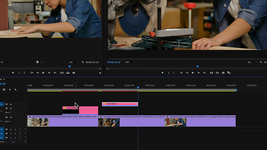 In an Adobe Premiere Pro desktop screenshot, the editor is dragging and dropping a Motion Graphics template on the timeline to track V3 next to another Motion Graphics templates on the same track