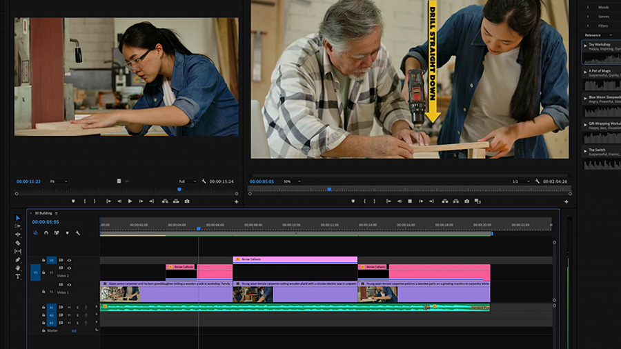 In an Adobe Premiere Pro desktop screenshot, the Playback monitor shows an Asian woman pushing a wooden board past a belt sander, while in the Program Monitor, the same young Asian woman and an older Asian man are woodworking with a power drill