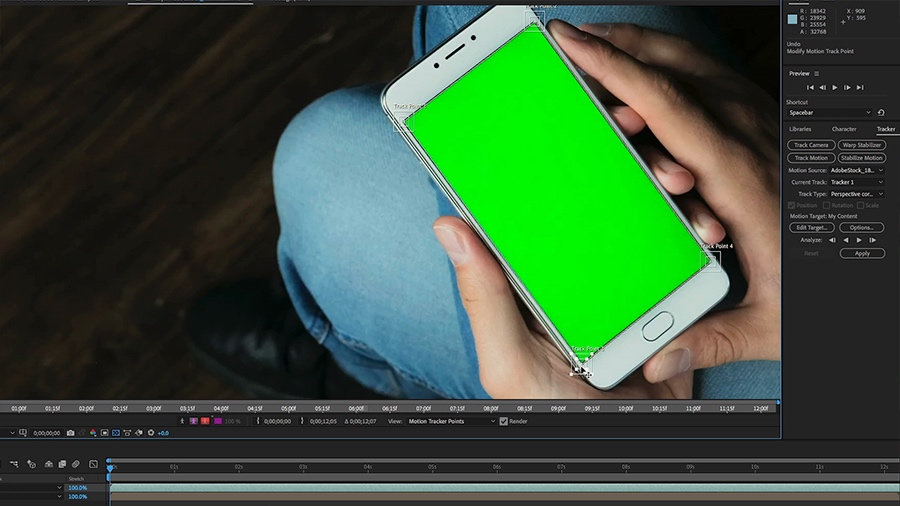 In an Adobe After Effects desktop screenshot with the Tracker Panel active, the editor fine tunes the placement of a tracking point on the corner of a smartphone screen
