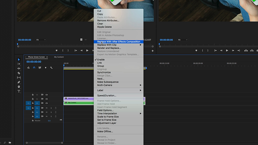 "In an Adobe Premiere Pro desktop screenshot, the editor control + clicks on both clips in the timeline and selects ""Replace With After Effects Composition"" from the shortcut menu"