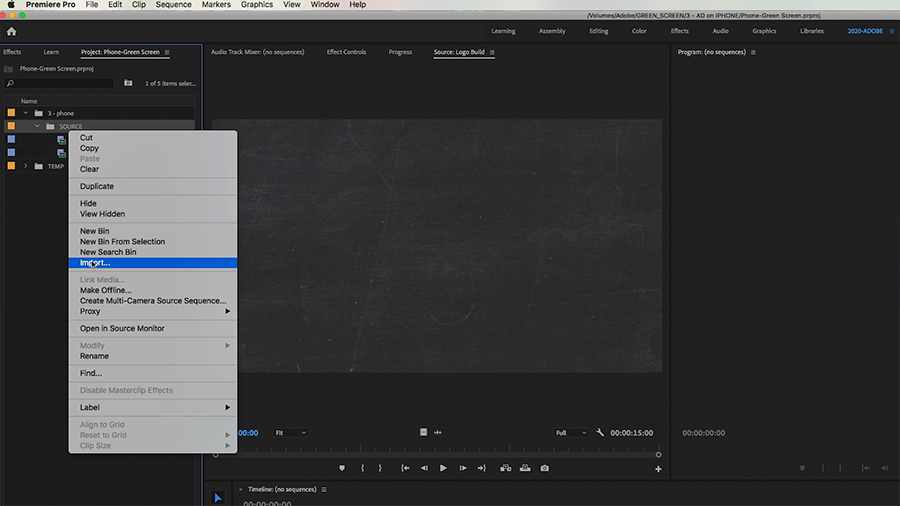 "In the Project panel of an Adobe Premiere Pro desktop screenshot, the editor selects ""Import..."" from the shortcut menu"