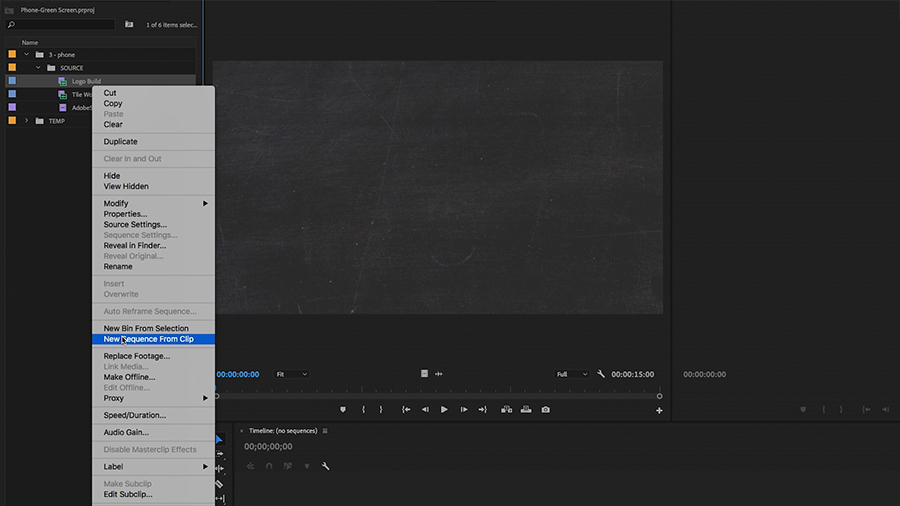 "In the Project panel of an Adobe Premiere Pro desktop screenshot, the editor selects ""New Sequence From Clip"" from the shortcut menu"