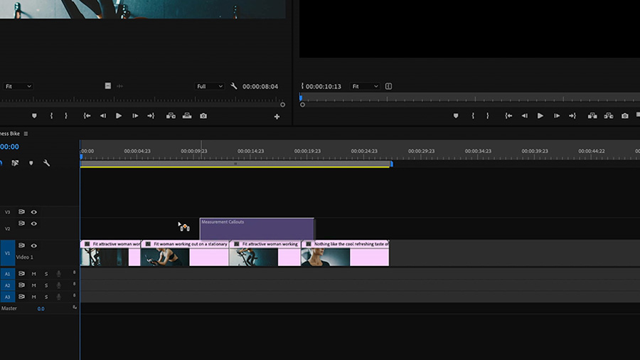 In an Adobe Premiere Pro desktop screenshot, the editor is dragging and dropping a Motion Graphics template called 'Measurement Callouts' on the timeline in track V2 above video clips of a woman riding a stationary bike on track V1
