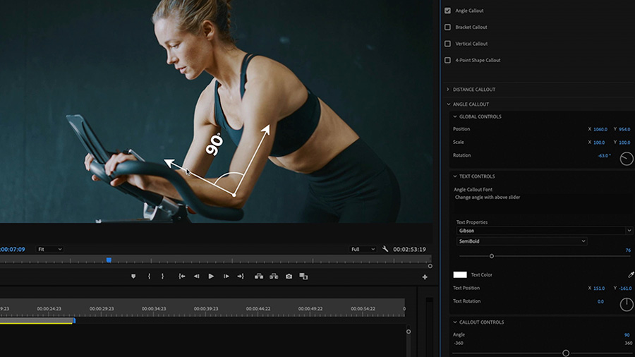 In an Adobe Premiere Pro desktop screenshot the Program Monitor shows a video clip of a woman riding a stationary bike with an animated arrow depicting the the angle of her arms, and the Essential Graphics panel with complete controls for the Motion Graphics template