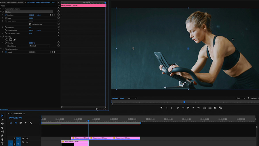 In an Adobe Premiere Pro desktop screenshot, a fit woman rides a stationary bike in the Program Monitor, and in the Effects Controls panel, the Motion option is highlighted while the editor works on keyframes