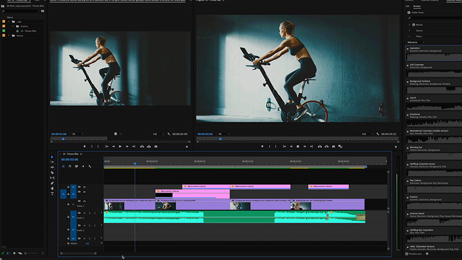 In an Adobe Premiere Pro desktop screenshot, an edit of a fit woman riding a stationary bike is in the Program Monitor and Timeline