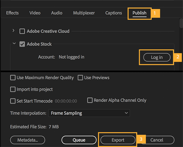 The Publish tab of the Export Settings dialog box