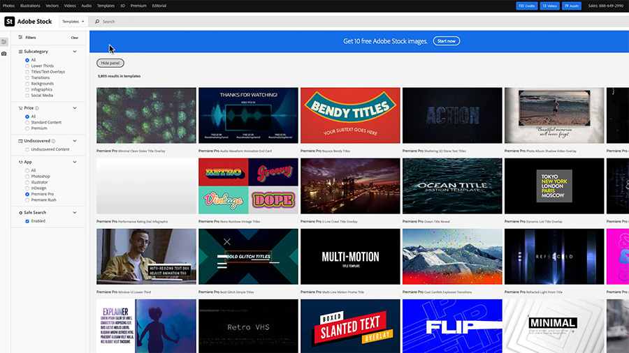 In a screenshot of a Safari browser, the Adobe Stock website search page shows that a visitor selected the category 'Templates' and clicked the 'Premiere Pro' filter radio button in the sidebar to narrow the results