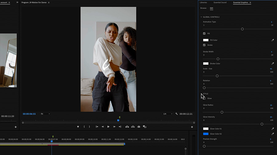 In an Adobe Premiere Pro desktop screenshot focused on both the Program Monitor, which shows two African American women dancing, and the Essential Graphics panel, the editor makes adjustments to the Motion Graphics template that is in the timeline