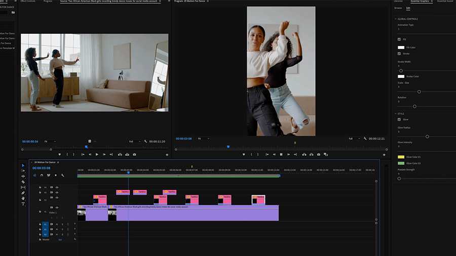 In an Adobe Premiere Pro desktop screenshot, the Playback monitor shows two African American women dancing in a room with a sofa, credenza, and a full length mirror, while in the Program Monitor, the same two women are shown head-on