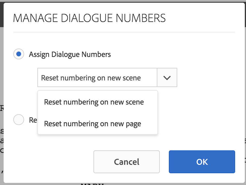 Assign dialogue numbers