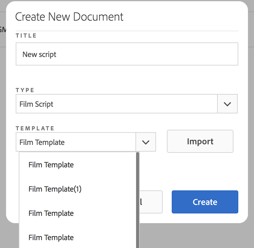 Import film template