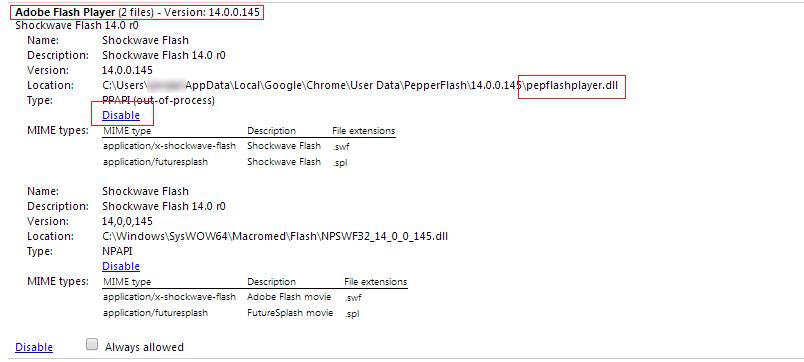 Disable The PepperFlash Plug In Restart Chrome