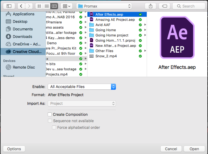 Import an After Effects project