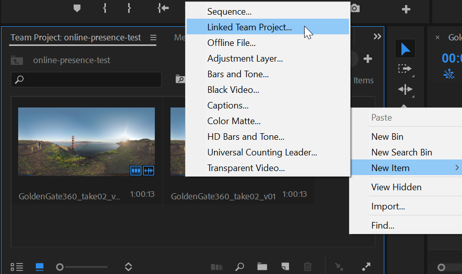 Context menu for linked team project