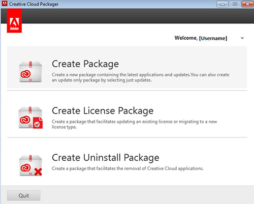 Creative Cloud Packager dialog