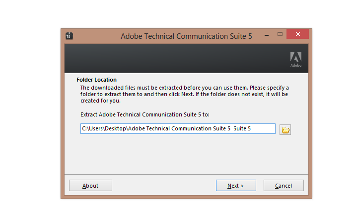 TCS 5.0 folder selection dialog for extraction