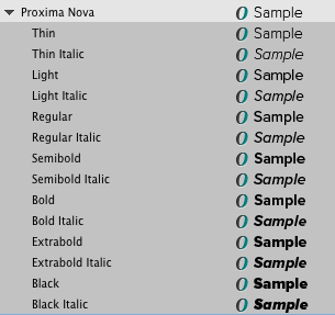List of Proxima Nova styles