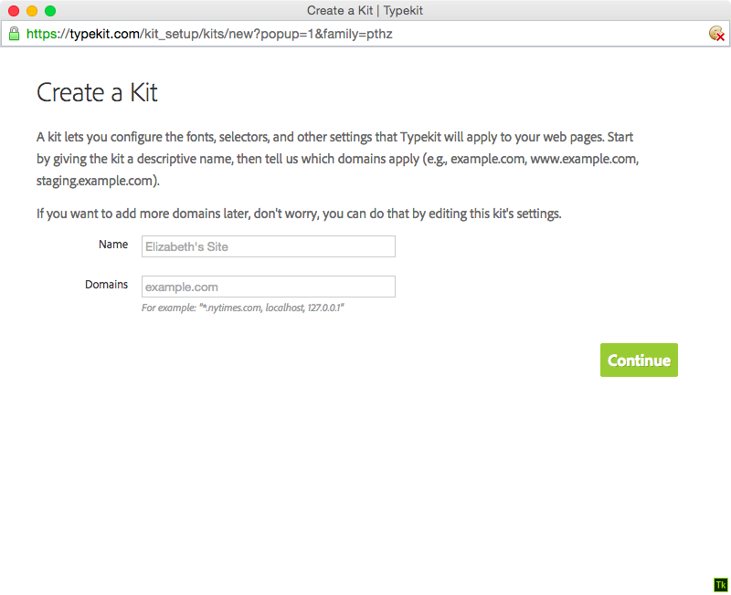 Creating a kit: choose a name and list the website domains