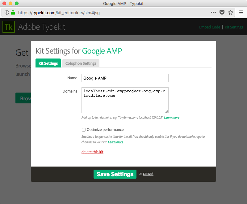 Adding the AMP CDN domain names to your kit