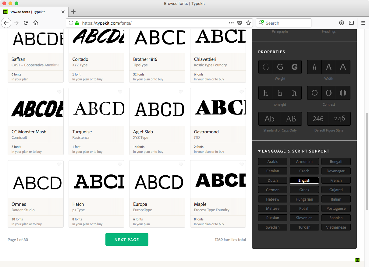 Language support and subsetting language support filters in the typekit font browser buycottarizona Image collections