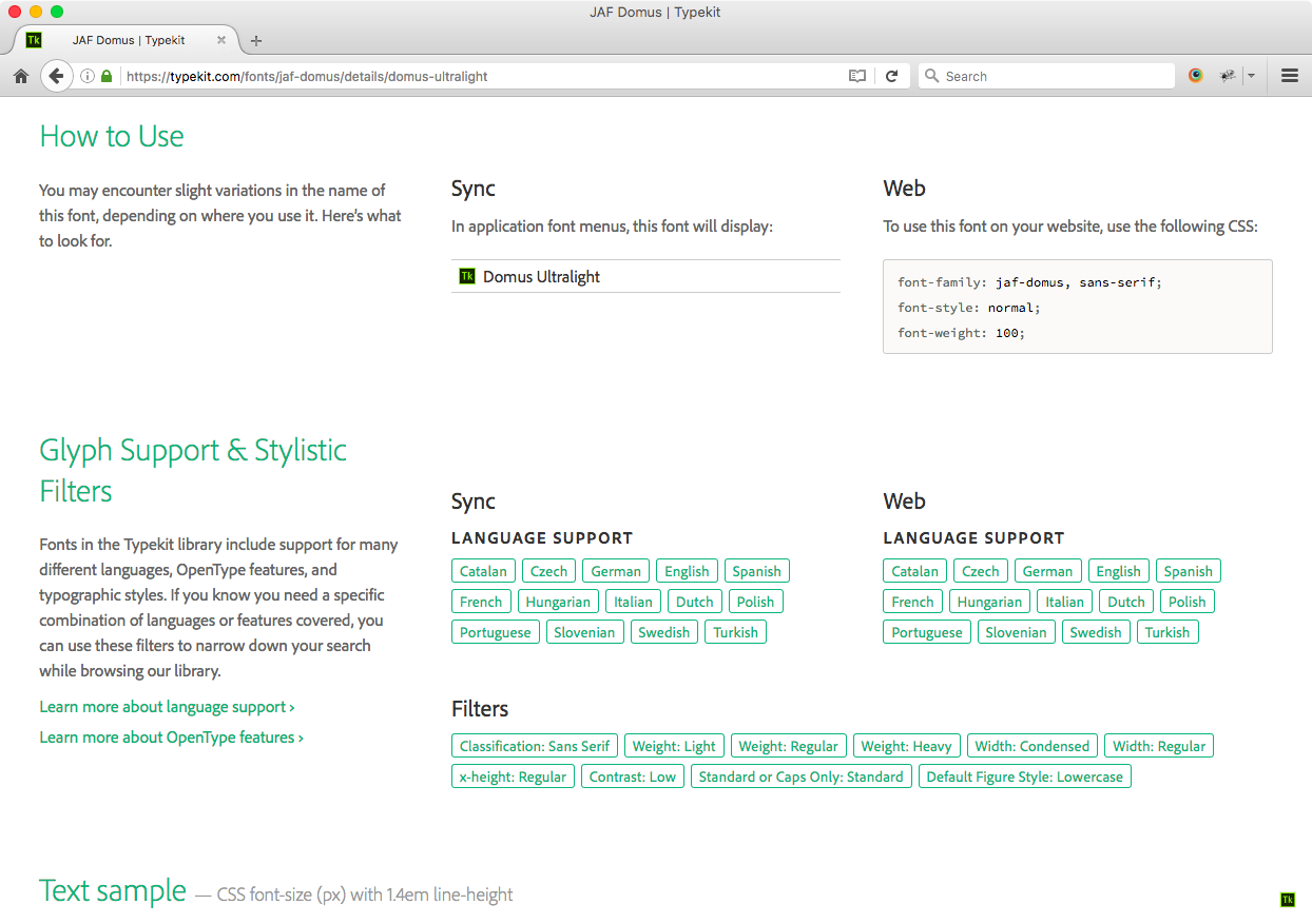 Language support on the Typekit font family page