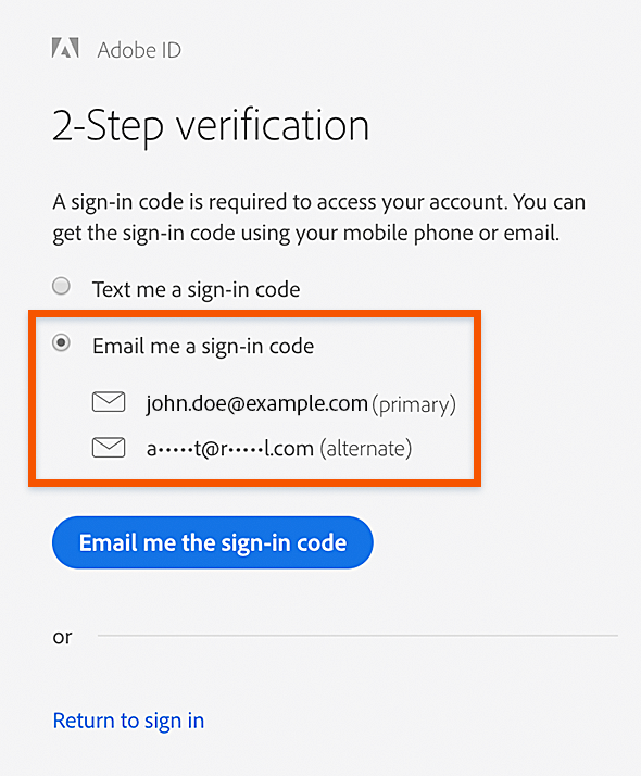 "Select ""Email me a sign-in code"""