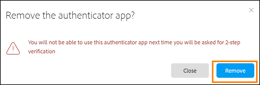 Confirm removal of authenticator app