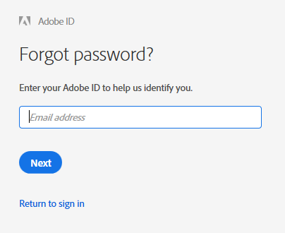 Enter the email address associated with your Adobe ID