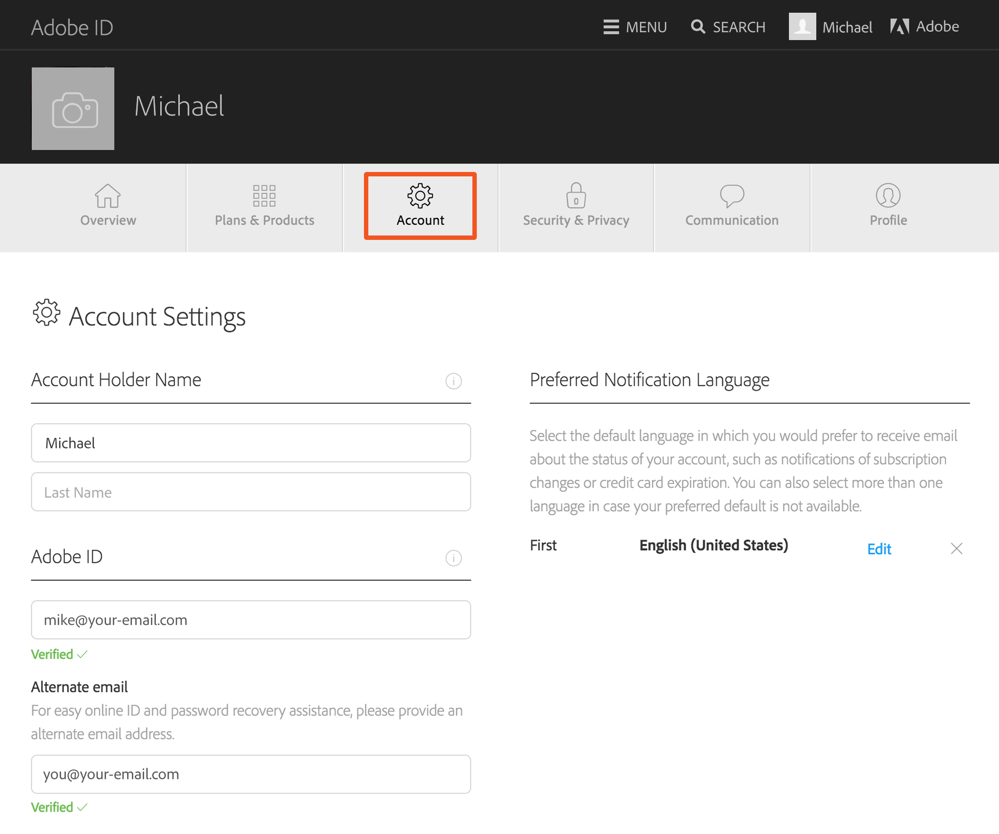 Manage your Adobe ID account – Free Change of Address Form Online