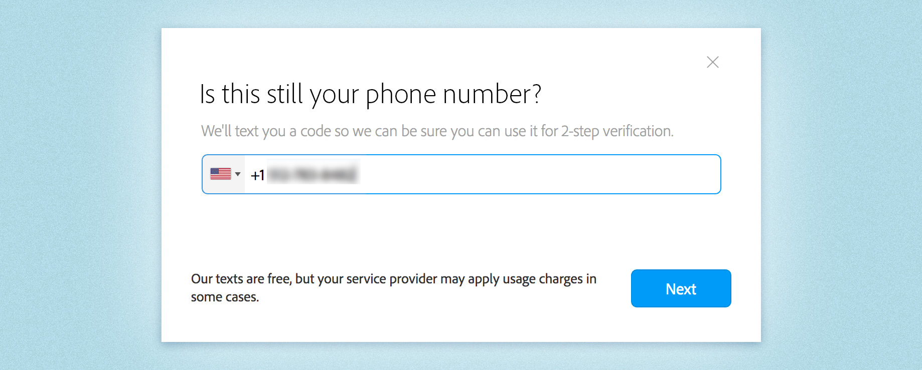 Verify phone number