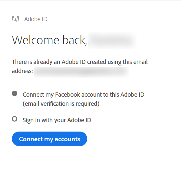 "Click ""Connect my accounts"" to connect Adobe account with social account"