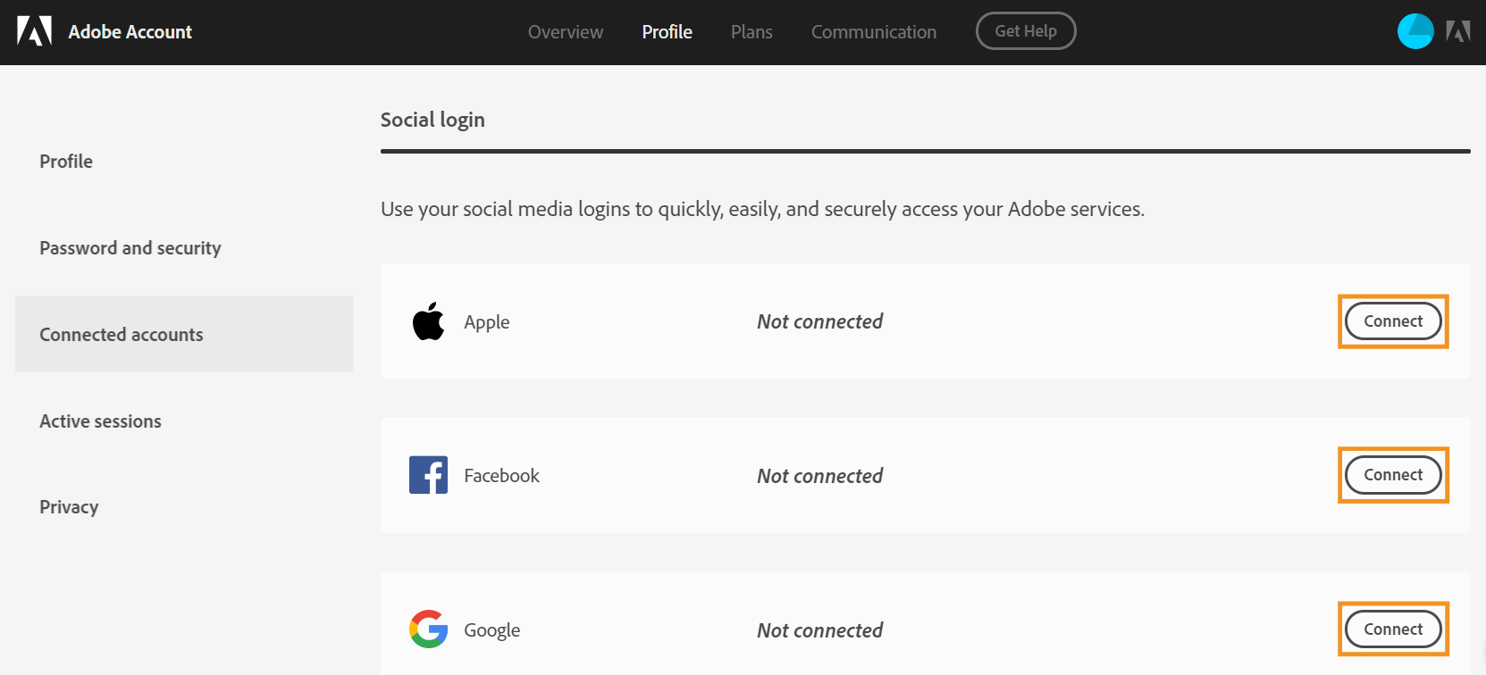 Connect social accounts to Adobe account
