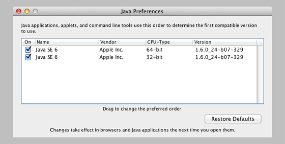 Java Preferences show it installed
