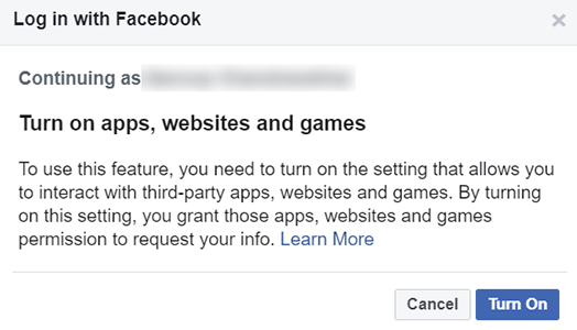 Turn on apps, websites and games while signing in with Facebook