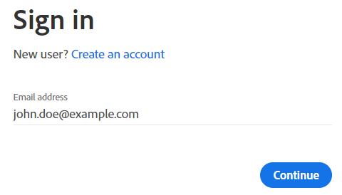 Enter your Adobe ID (social account email address)